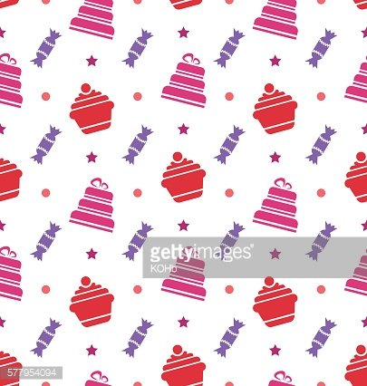 Seamless Texture with Cupcakes, Cakes and Candies