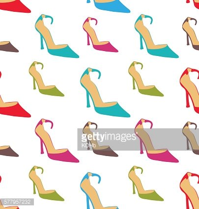 Seamless Texture with Women Summer Shoes