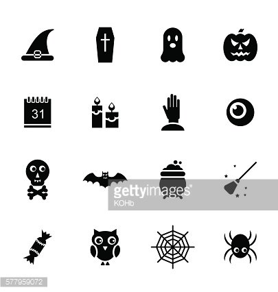 Halloween Traditional Icons, Black Silhouettes