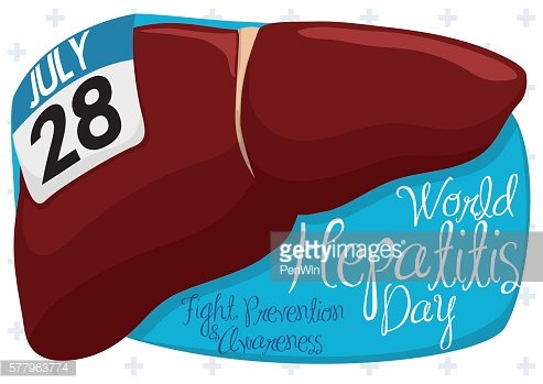 Healthy Liver with Calendar and Sign for World Hepatitis Day