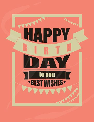 Vintage Happy Birthday Card Frame Design Vector Clipart Image