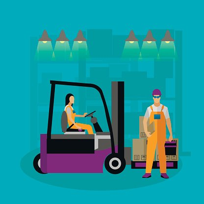 Logistic and delivery service concept banner. Warehouse workers. Vector illustration