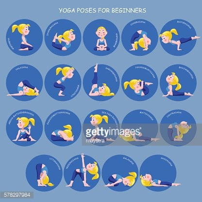 Cartoon Girl In Yoga Poses With Titles For Beginners Isolated