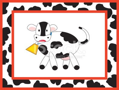 Cute cow and border