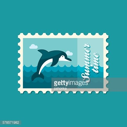 Dolphin stamp. Summer. Vacation