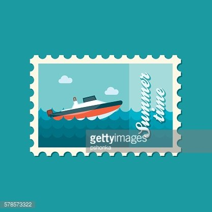 Speed boat stamp. Summer. Vacation