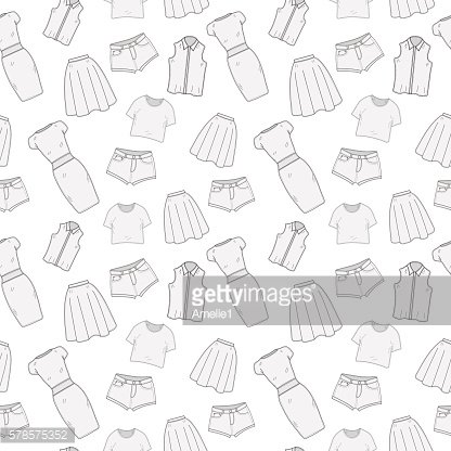 Women's Clothing seamless pattern sketch. Clothes, hand-drawing,