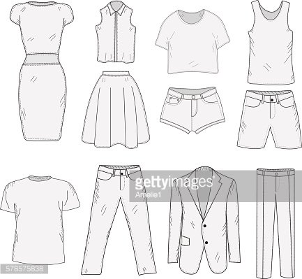 Men's and Women's Clothing set sketch. Clothes, hand-drawing,