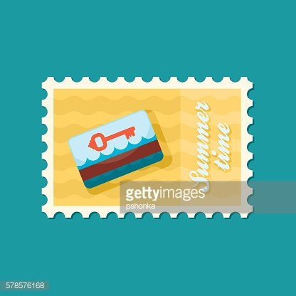 Electronic keycard stamp. Summer. Vacation
