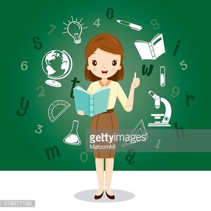 Woman Teacher With Educational Supplies Icons