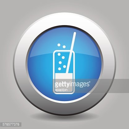 blue metal button - glass with drink and straw