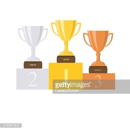Cup on a pedestal. Brazil. Podium. Vector illustration.