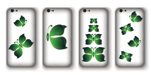set of phone covers with 3d paper colorful butterfly.
