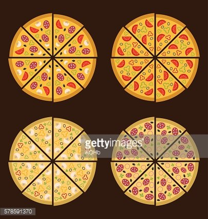 Collection of Different Pizza Isolated
