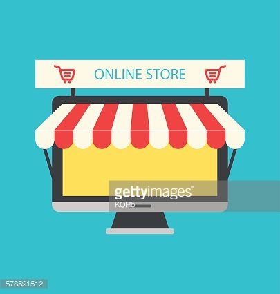 Flat Icon of Computer PC as Showcase Shop