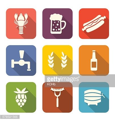 Set Colorful Icons of Beers and Snacks