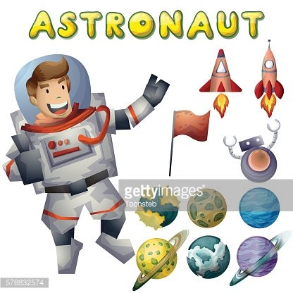astronaut spaceman vector cartoon with separated layers