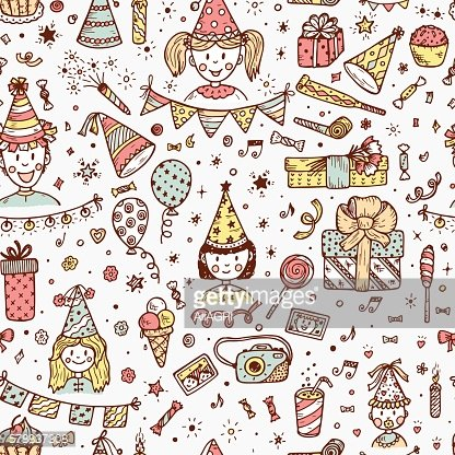 Birthday seamless pattern with children, sweets, balloons, gifts, festive attributes.
