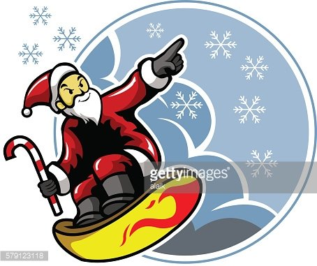 Surfing Santa And Snowflakes