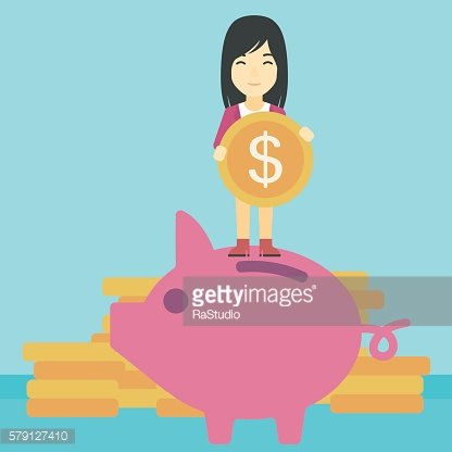Business woman putting coin in piggy bank.