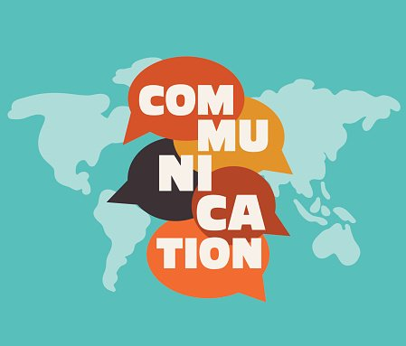word communication with colorful dialog speech bubbles over world map