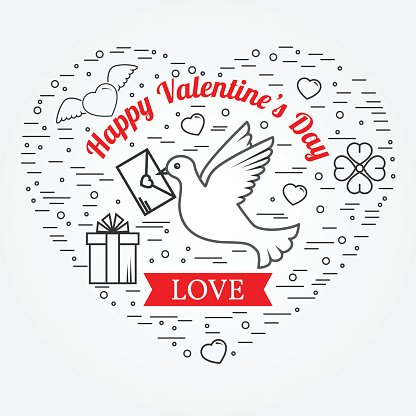 Happy Valentine's Day greetings card, labels, badges, symbols