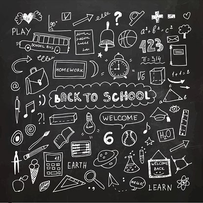 Back to school chalkboard. Doodle freehand drawing premium