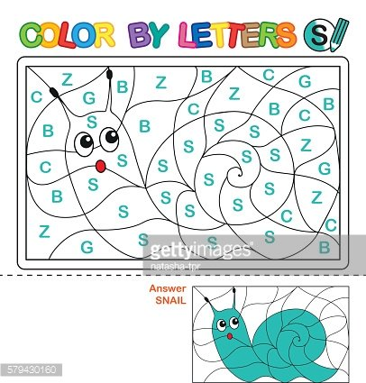 Puzzle for kids. Color by letters.