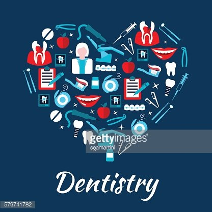 Dentistry banner with icons and symbols