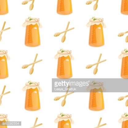 Honey jar seamless pattern with bee sketch vector illustration