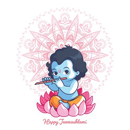 little cartoon krishna with a flute on the premium clipart