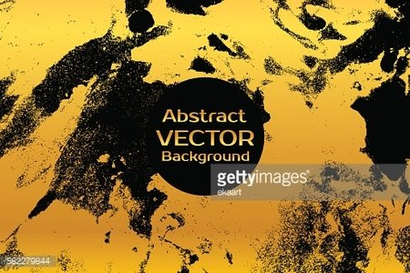 Golden on black abstract painted marble illustration.