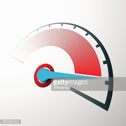 Scale of speed measurement with an arrow.