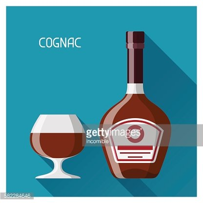 Bottle and glass of cognac in flat design style
