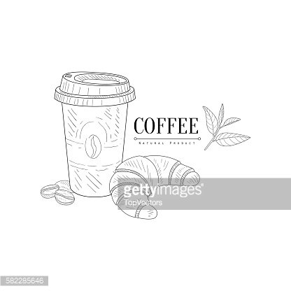 Take Away Coffee And Croissant Hand Drawn Realistic Sketch