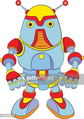 Cartoon colored robot with antennas