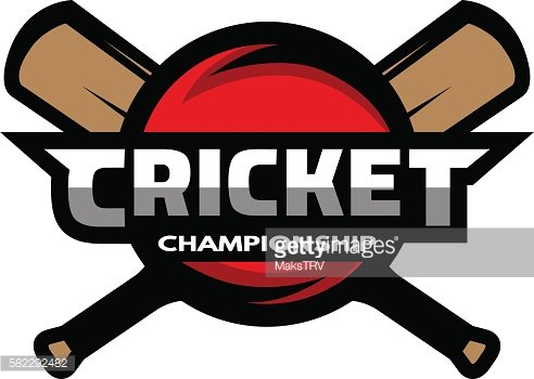 Cricket sports label, badge, emblem.