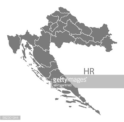 Croatia counties Map grey