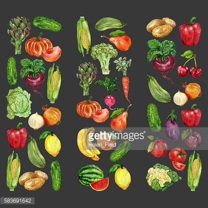 Watercolor set with fruits and vegetables