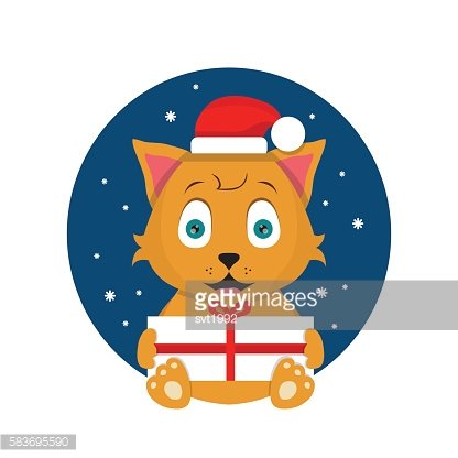 Cat with Christmas present flat illustration