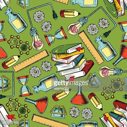 School supplies seamless pattern background