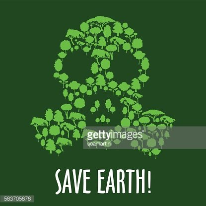 Gas mask symbol with green trees and plants