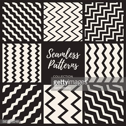 Vector Seamless ZigZag Lines Patterns Collection
