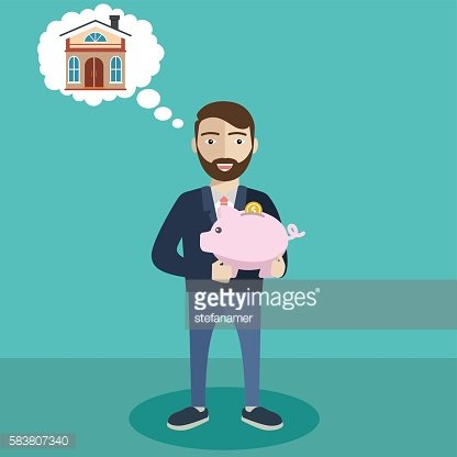 Businessman with a piggy bank, saving money for new house