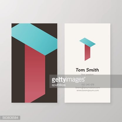 Business card isometric logo letter T vector template.