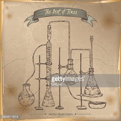 Antique chemistry lab equipment sketch placed on old paper background