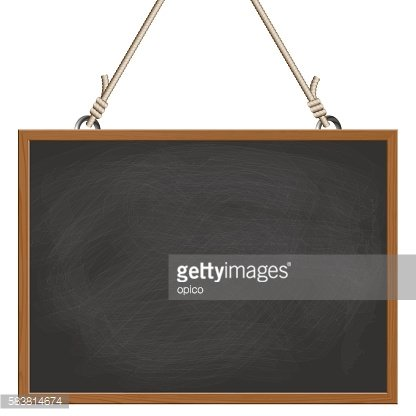 black board hanging on ropes