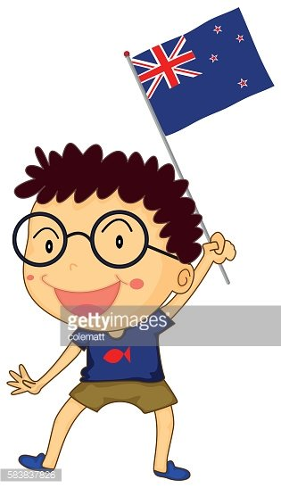 Boy and New Zealand flag