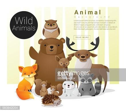 Cute animal family background with Wild animals
