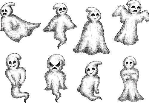 Halloween Cartoon Eerie White Ghosts Clipart Image